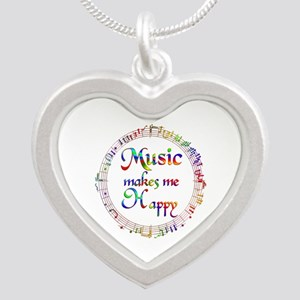 Music makes me Happy Silver Heart Necklace