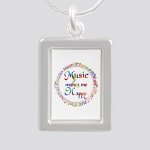 Music makes me Happy Silver Portrait Necklace