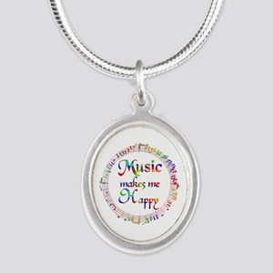 Music makes me Happy Silver Oval Necklace