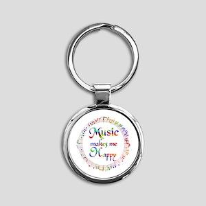 Music makes me Happy Round Keychain