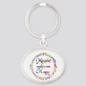 Music makes me Happy Oval Keychain