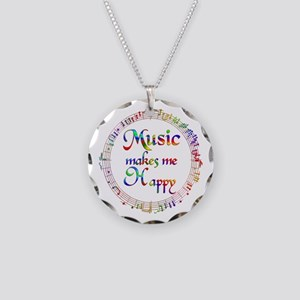Music makes me Happy Necklace Circle Charm
