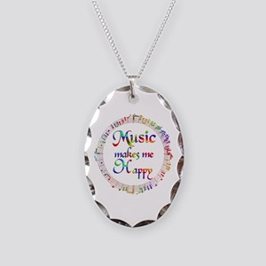 Music makes me Happy Necklace Oval Charm