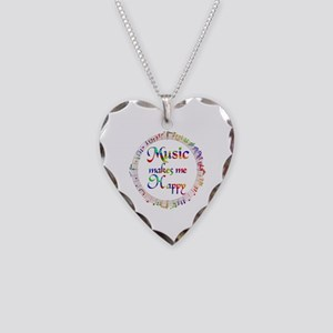 Music makes me Happy Necklace Heart Charm