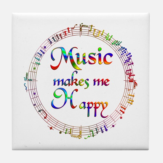 Music makes me Happy Tile Coaster