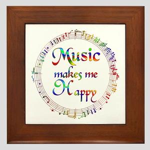 Music makes me Happy Framed Tile