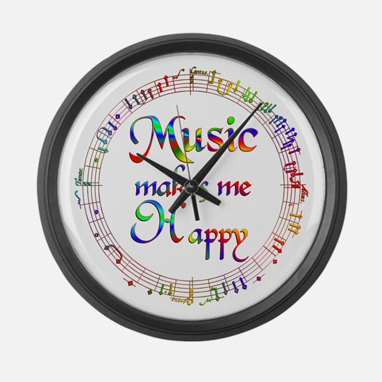 Music makes me Happy Large Wall Clock