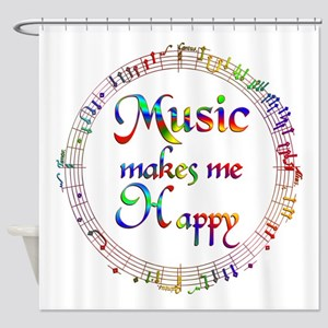 Music Makes Me Happy Shower Curtain