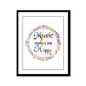 Music makes me Happy Framed Panel Print