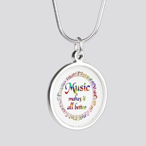 Music Makes it Better Silver Round Necklace