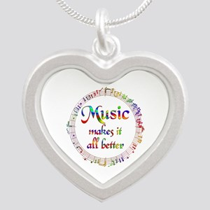 Music Makes it Better Silver Heart Necklace