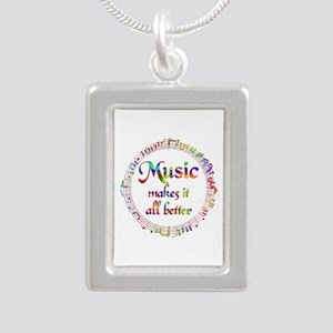 Music Makes it Better Silver Portrait Necklace
