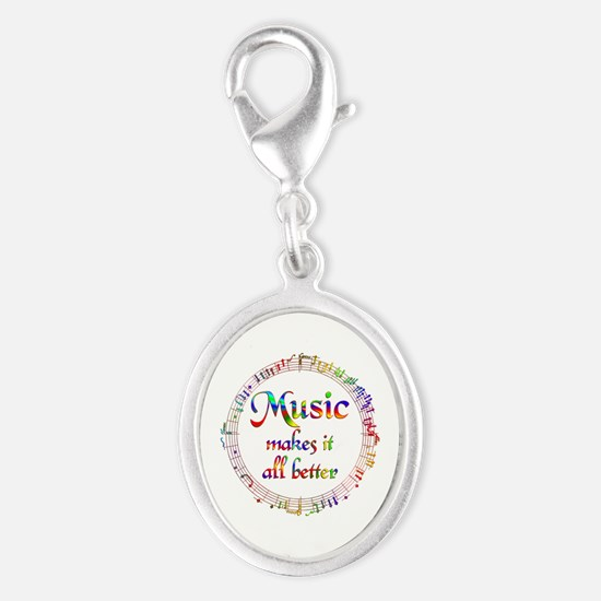 Music Makes it Better Silver Oval Charm