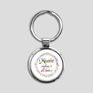 Music Makes it Better Round Keychain