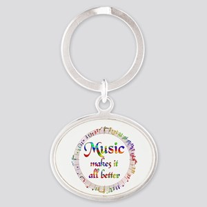Music Makes it Better Oval Keychain