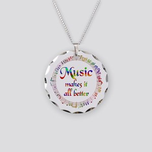 Music Makes it Better Necklace Circle Charm