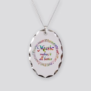 Music Makes it Better Necklace Oval Charm