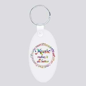 Music Makes it Better Aluminum Oval Keychain