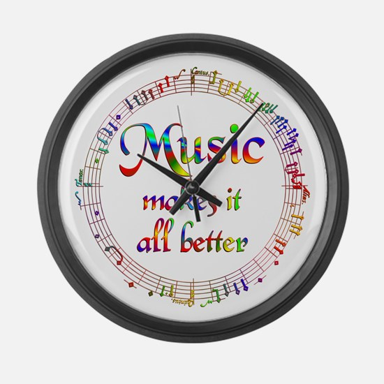 Music Makes it Better Large Wall Clock