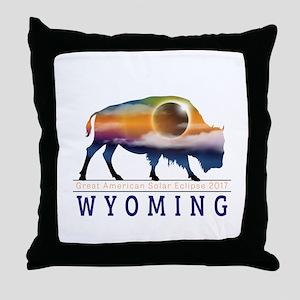 Wyoming Buffalo Eclipse Throw Pillow