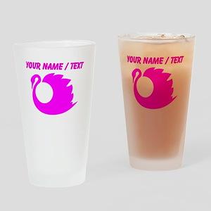 Custom Pink Swan Silhouette Drinking Glass