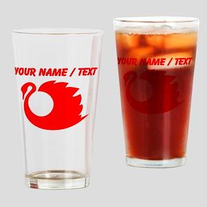 Custom Red Swan Silhouette Drinking Glass