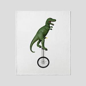 T-rex Riding Unicycle Throw Blanket
