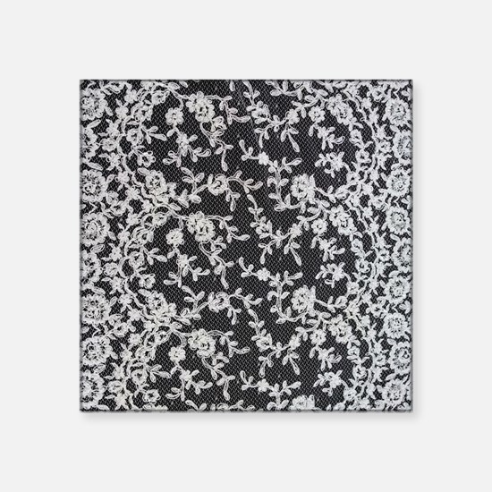 "Black and White Lace Square Sticker 3"" x 3"""