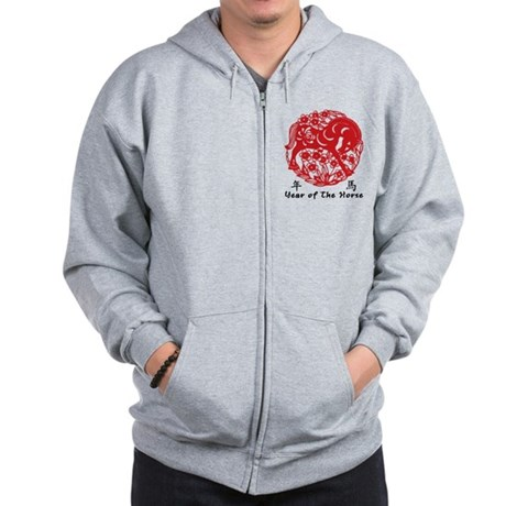 Paper Cut Chinese Year of The Horse Design Zip Hoo