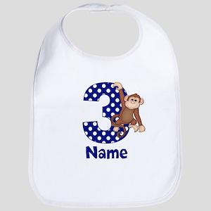 3rd Birthday Monkey Blue Bib