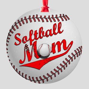 Softball Mom Round Ornament