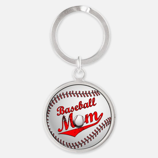 Baseball Mom Round Keychain