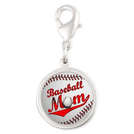 Baseball Mom Silver Round Charm