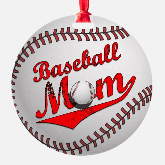 Baseball Mom Round Ornament