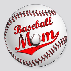Baseball Mom Round Car Magnet