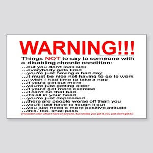 Chronic Condition Warning Rectangle Sticker