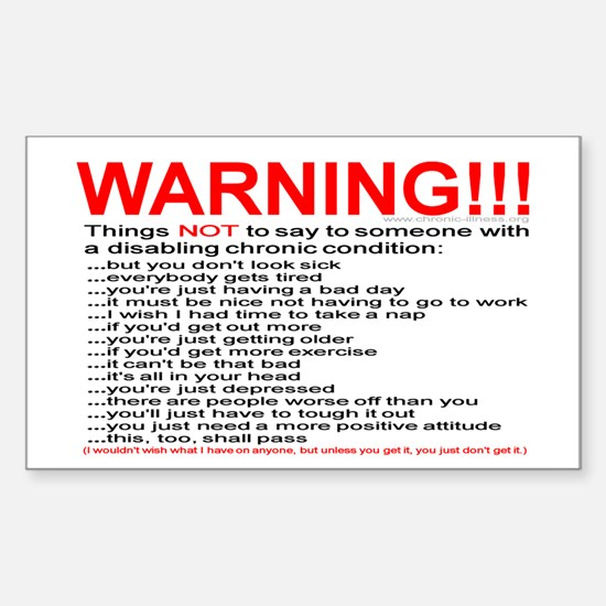 Chronic Condition Warning Rectangle Decal