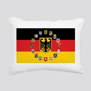 German Flag with State Arms Rectangular Canvas Pil