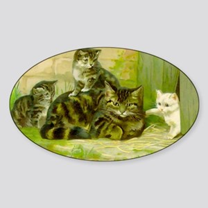 Vintage Cat and Kittens Sticker