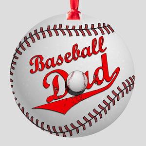 Baseball Dad Round Ornament