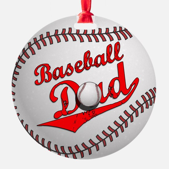 Baseball Dad Round Ornament