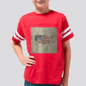 Vintage USA Flag Map Youth Football Shirt