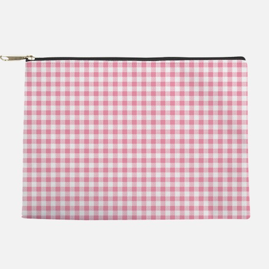 Pink Gingham Pattern Makeup Pouch
