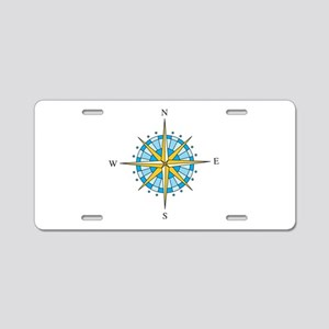 Compass Rose Aluminum License Plate