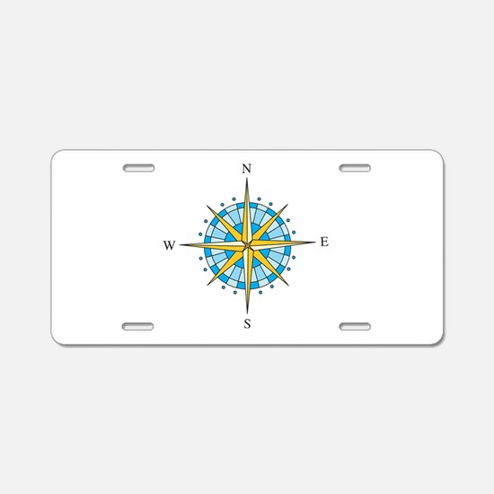 Compass Rose Aluminum License Plate