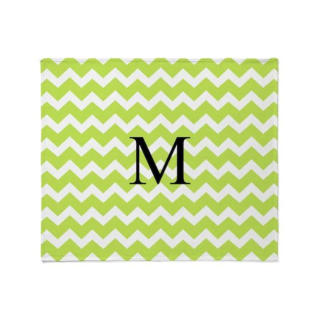 lime green chevron monogram throw blanket by dreamingmindcards. Black Bedroom Furniture Sets. Home Design Ideas