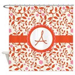 Personalized Orange Floral Shower Curtain