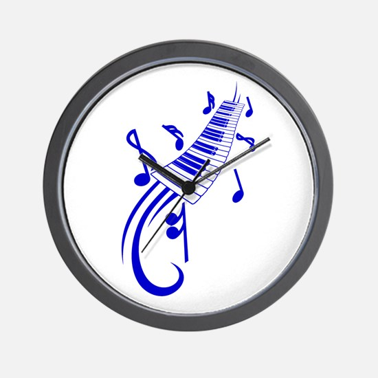 keyboard scroll and notes blue Wall Clock