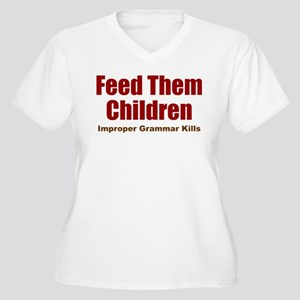 Feed Them Women's Plus Size V-Neck T-Shirt