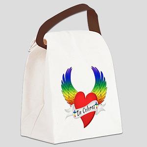 Winged Heart De Colores Canvas Lunch Bag